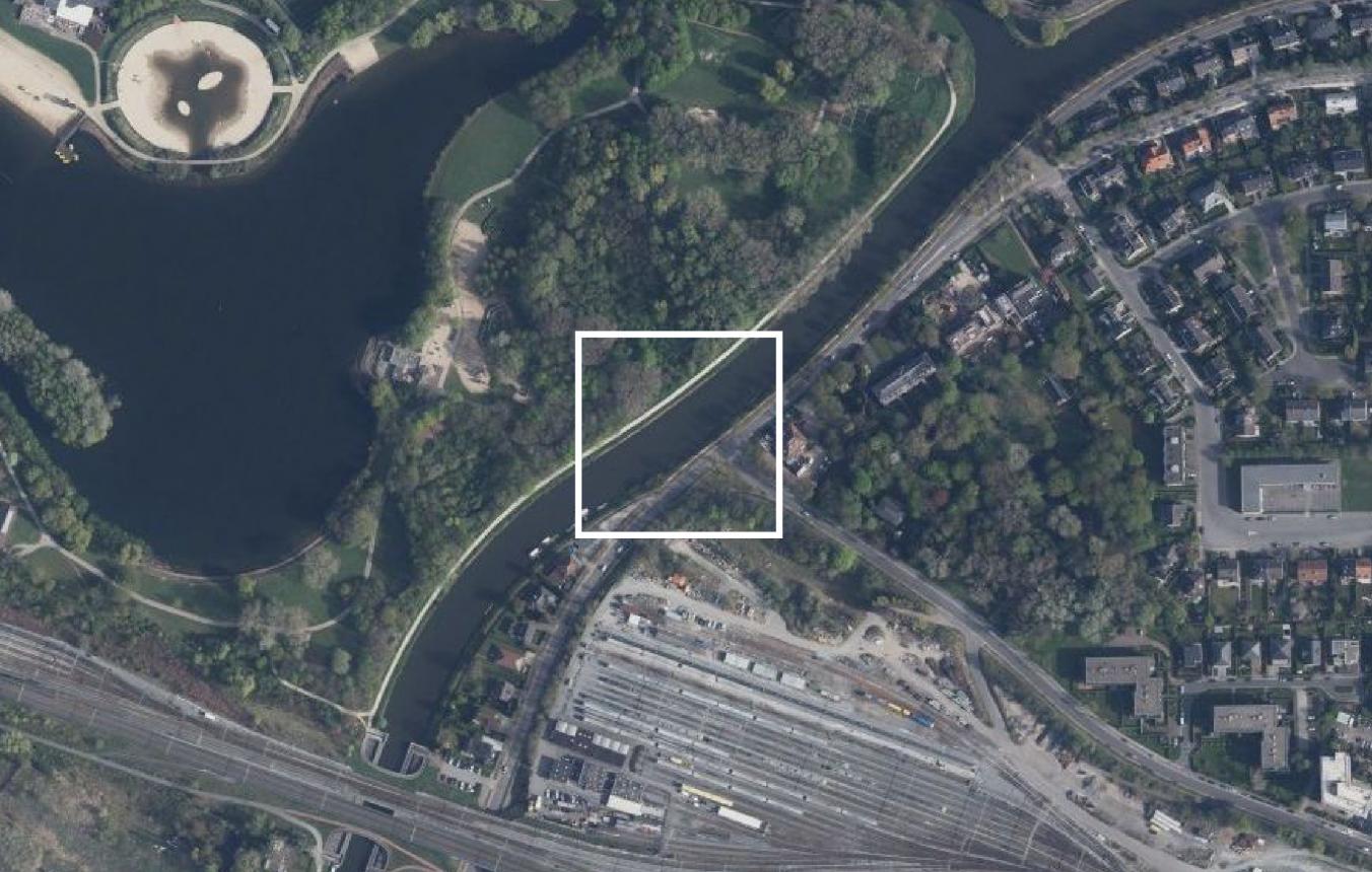 Fietsbrug Leie Gent luchtfoto