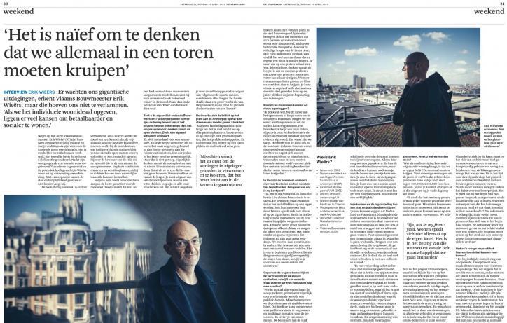 Artikel Erik Wieërs in De Standaard met als titel 'Het is naïef om te denken dat we allemaal in een toren moeten kruipen