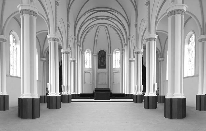 Het volledig leeg interieur van een kerk