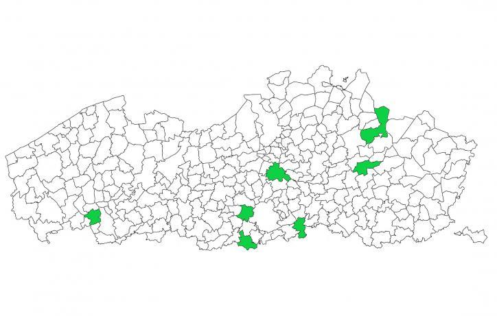 Locatie van de zeven geselecteerde leefbuurten in Vlaanderen