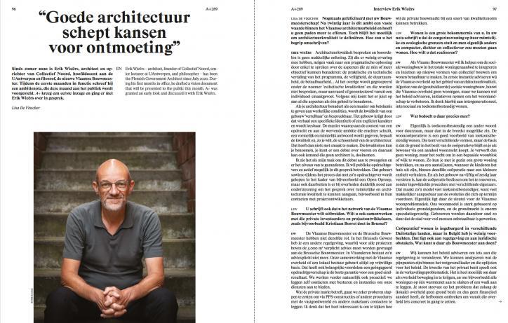 """Spread artikel Erik Wieërs """"goede architectuur schept kansen voor ontmoeting"""" in A+289"""