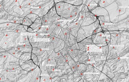 Drie onderzoeksgebieden in de rand van en rond Brussel