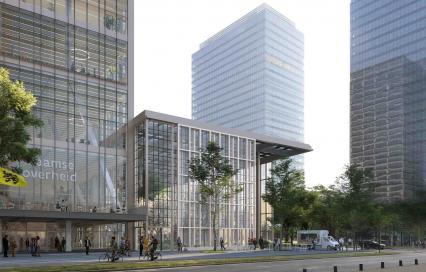 nieuw kantorencomplex in de Brusselse Noordwijk, transformatie van de WTC-torens 1 en 2 tot 'Kantoor 2023'