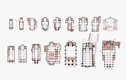 Grondplannen van mogelijke herbestemmingen van kerken, opgemaakt door TV Studio Thys Vermeulen - Studio Roma i.s.m. Sven Sterken (KU Leuven)