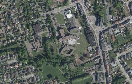 Luchtfoto van de woonzorgsite WZC Sint-Antonius te Grembergen. ©GDI-Vlaanderen
